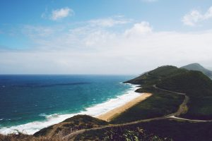 remote beach on Nevis, St. Kitt's